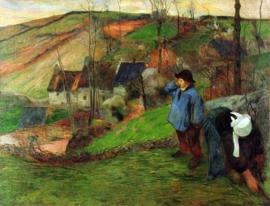 Schilderijbehang - Gauguin - Breton Shepherd