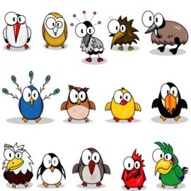 Fotobehang Kinderkamer - Gekke vogels / Crazy birds