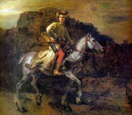 Schilderijbehang - Rembrandt - De Poolse Ruiter / The Polish Rider