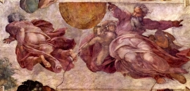 Schilderijbehang - Michelangelo - Divorce of Light and Darkness