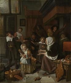 Schilderijbehang  Jan Steen - Het Sint-Nicolaasfeest
