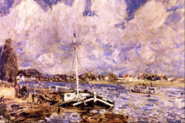 Schilderijbehang - Renoir - Boats on the Seine