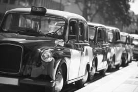 Fotobehang - Zwart wit - Londen - Taxi