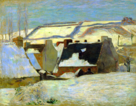Schilderijbehang - Gauguin - Breton Village in snow