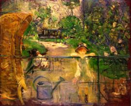 Schilderijbehang - Morisot - Chair in the garden