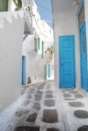 Fotobehang - Steden - Griekenland - Griekse dorpsstraat te Myko