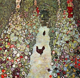 Schilderijbehang - Klimt - Garden path with chickens