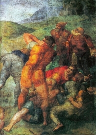 Schilderijbehang - Michelangelo - Conversion of Paul