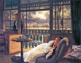 Schilderijbehang -Tissot - A storm moves over