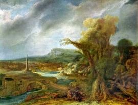 Schilderijbehang - Rembrandt - Landscape with Obelisk