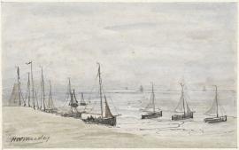 Schilderijbehang  H.W. Mesdag - Visserspinken op het Strand