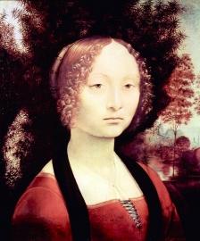 Schilderijbehang - Da Vinci - Portrait of a Dame ( Ginevra Benci ) - 2