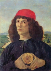 Schilderijbehang Botticelli - Portrait of a man with a medal of Cosimo the Elder