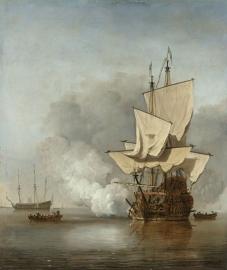 Schilderijbehang  Willem v.d. Velde II - Het Kanonschot
