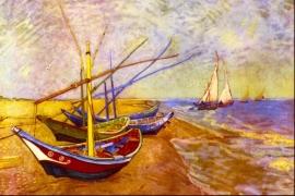 Schilderijbehang - Van Gogh - Boats of Saintes Maries