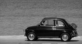 Fotobehang - Zwart wit - Fiat 500