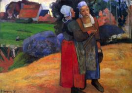 Schilderijbehang - Gauguin - Breton Farmers