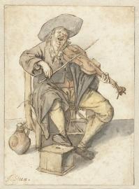Schilderijbehang  Jan Steen - Zingende Vioolspeler