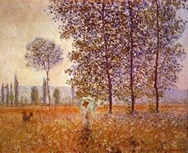 Schilderijbehang - Monet - Poplars in the Sunlight