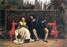 Schilderijbehang -Tissot - Faust and Marguerite in the garden