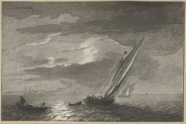 Schilderijbehang  Ludolf Backhuysen - Zeegezicht met volle Maan
