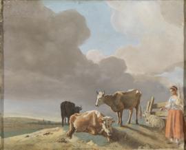 Schilderijbehang - Liotard - Landscape  with cows