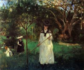 Schilderijbehang - Morisot - Butterfly hunting