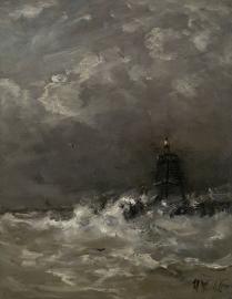 Schilderijbehang  H.W. Mesdag - Vuurtoren in de Branding