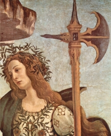 Schilderijbehang Botticelli - Minerva and the Centaur (detail)