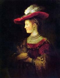 Schilderijbehang - Rembrandt - Portrait of Saskia