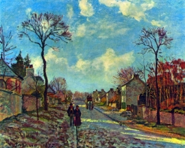 Schilderijbehang Pissarro - Street of Louveciennes