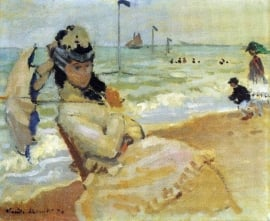 Schilderijbehang - Monet - Camille on the beach at Trouville