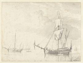 PrentBehang  Willem v.d. Velde II - Enkele Vaartuigen op een kalme Zee