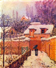 Schilderijbehang - Sisley - Tuin in de sneeuw - Garden in snow