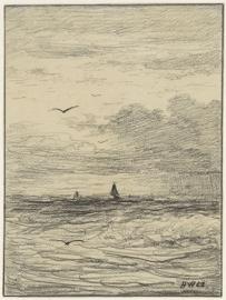 Schilderijbehang  H.W. Mesdag - Zeegezicht bij bewogen Lucht