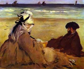 Schilderijbehang - Manet - Op het strand - On the beach