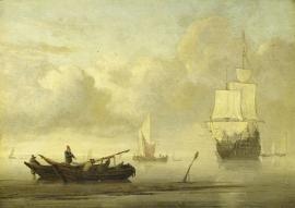 Schilderijbehang  Willem v.d. Velde II - Schepen voor de Kust