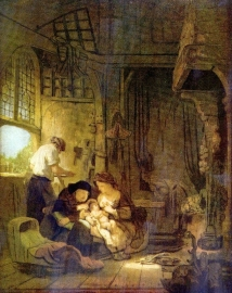 Schilderijbehang - Rembrandt - The Holy Family