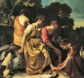 Schilderijbehang - Vermeer - Diana en haar Nimfen