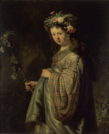 Schilderijbehang - Rembrandt - Flora