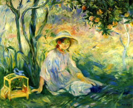 Schilderijbehang - Morisot - Under the Orangetree