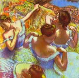 Schilderijbehang - Degas - Dancers in blue