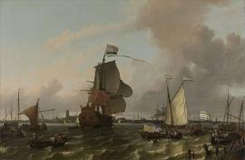 Schilderijbehang  Ludolf Backhuysen - Het oorlogsschip Brielle voor Rotterdam
