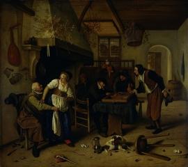 Schilderijbehang  Jan Steen - Tweeërlei Spel