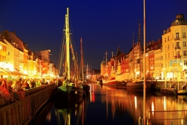 Fotobehang - Kopenhagen - Nyhavn by night