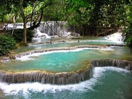Fotobehang - Waterval - Blue Lagoon