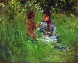 Schilderijbehang - Morisot - Mother and child in garden in Bougival