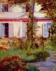 Schilderijbehang - Manet - House in Rueil
