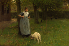 Schilderijbehang - Anton Mauve - Larense vrouw met lammetje