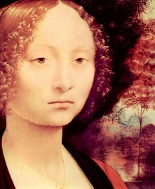 Schilderijbehang - Da Vinci - Portrait of a Dame ( Ginevra Benci ) - 1